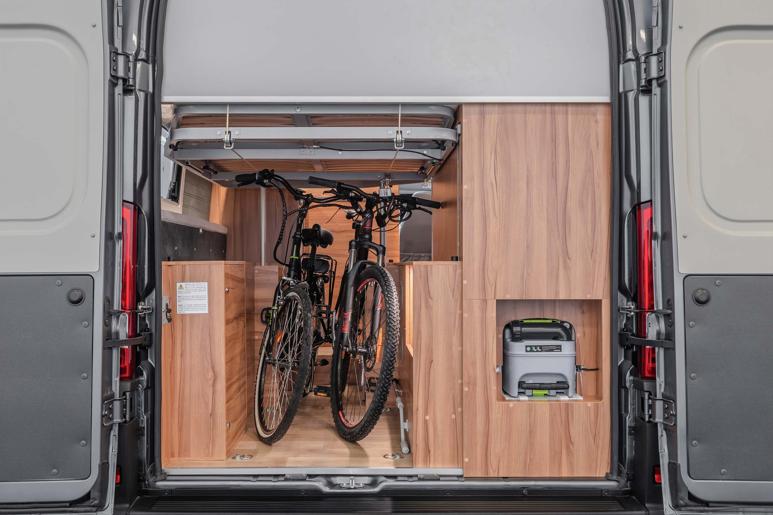 Camper van with two bikes inside